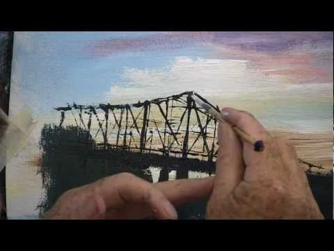 A tutorial video for beginners painting in oil or acrylic showing techniques and how to use the painting knife to Paint a Steel Bridge in a Sunset. For more free information about painting with the knife go to http://paintwithlen.com/exercises/painting-knife-techniques-beginners/
