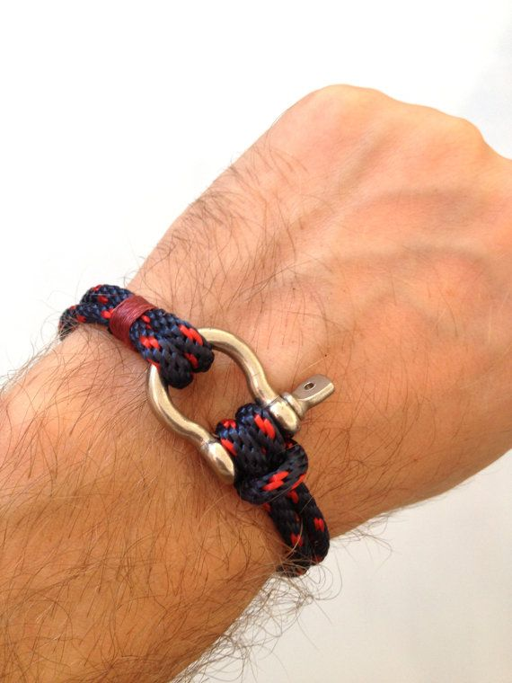 Nautical Sailing Bracelet Stainless steel Shackle -Rope Bracelet- Paracord Bracelet- Navy4. $15.00, via Etsy.
