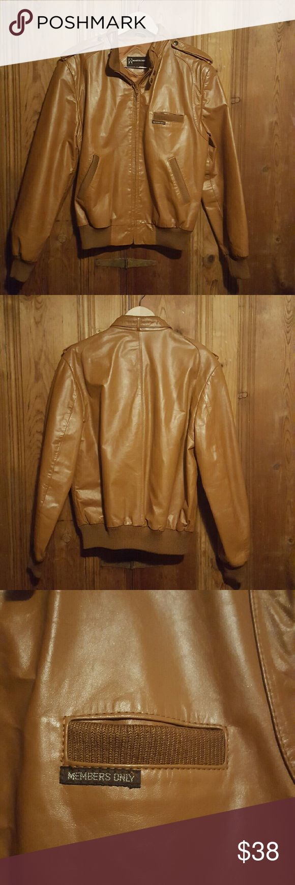 Vintage Members Only Tan Leather Jacket Vintage Tan Leather Members Only Jacket Size 42 Large. Great exterior condition but the lining at the neck is beginning to tear. Not visible when worn. Vintage Jackets & Coats Puffers
