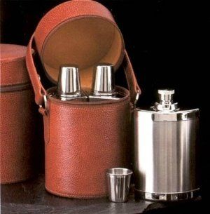 Flask set is in a 6 piece bar set containing: 3 -14oz Stainless Steel Flasks with 3 cups in Brown Leather Case . $158.00. Flask set is in a 6 piece bar set containing: 3 -14oz Stainless Steel Flasks with 3 cups in Brown Leather Case