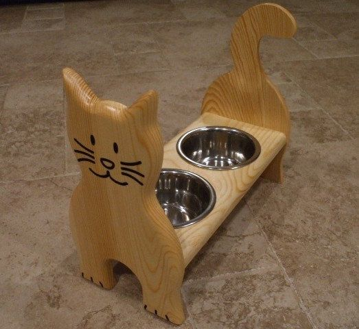 The Cats Meow! 1 Pint 4 Inch Height Double Bowl Pet Feeder Stained the Color of Your Choice(Clear Stain shown above)- please refer to color chart