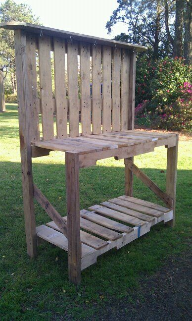 Pallet Gardening Bench. My dad made it for me! I LOVE IT!                                                                                                                                                                                 More