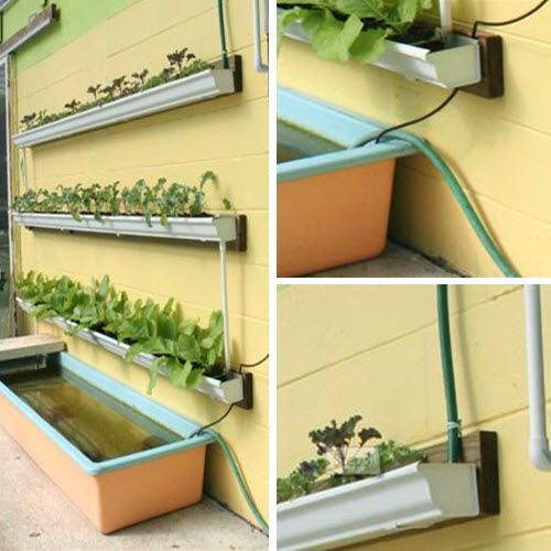 Make-Your-Own-Rain-Gutter-Garden *** Would be awesome for fresh herbs in the kitchen. May also work for a tiny house.