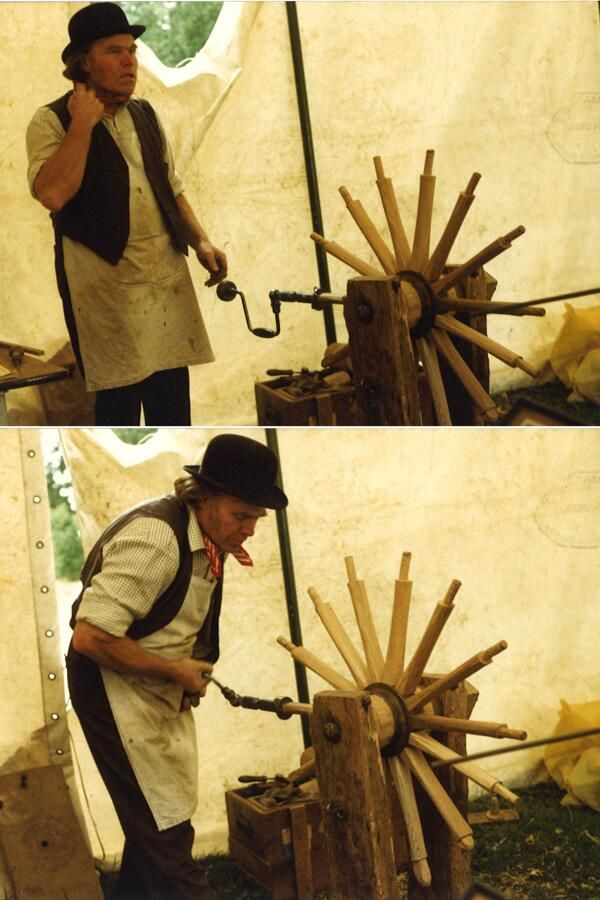 #tbt to 1986 This is Edward Fox - Wheelwright from Reading demonstrating his craft at Art in Action