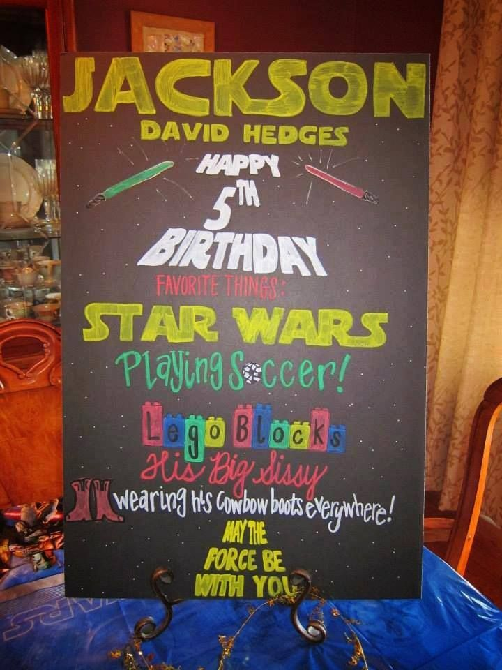 May The Force Be With You Jackson Happy 5th Birthday Star Wars Chalkboard