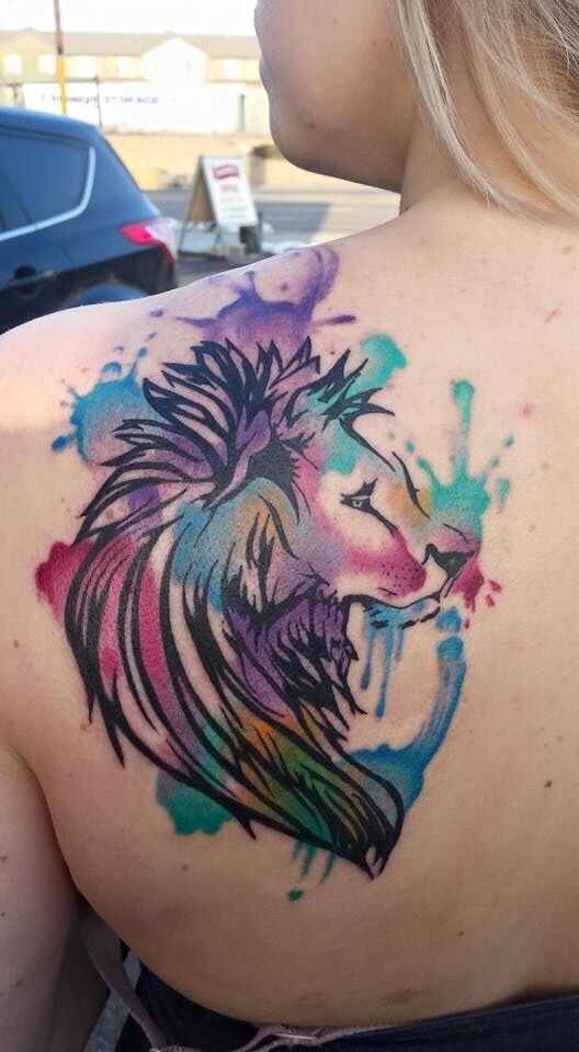 Watercolor lion, by Lance Coulam in Salt Lake City, UT. - Imgur