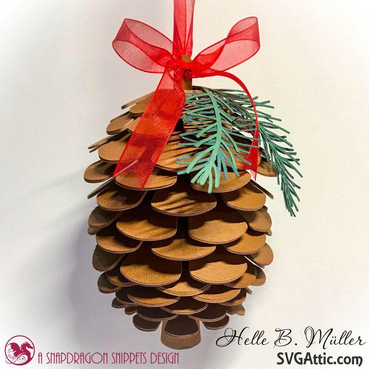 3D Pine Cone from JGW Christmas Botanica kit by #svgattic