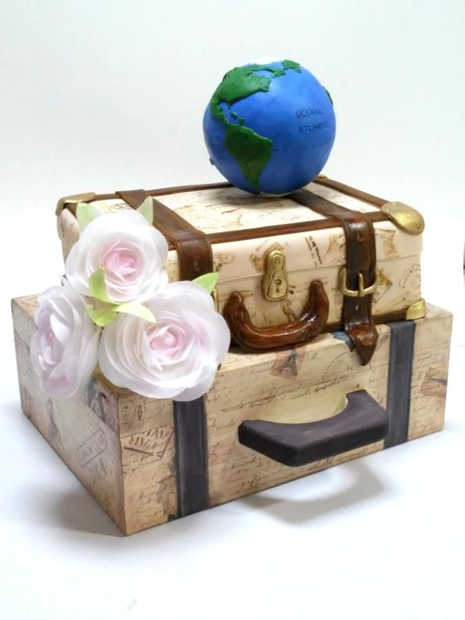 Stamped Vintage Suitcase - Cake by Andrea Costoya