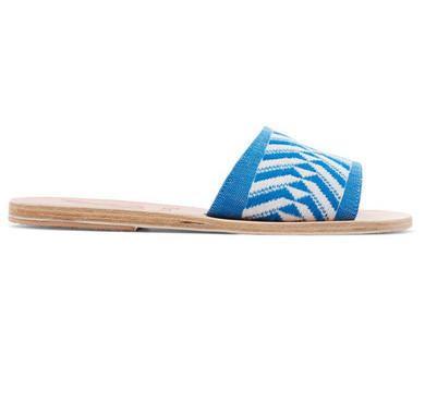 Bikini e moda mare bianco e blu estate 2017: il look per le vacanze in Grecia - Ciabatte realizzate a mano in tessuto jacquard e pelle, Ancient Greek Sandals su Net-a-porter.com