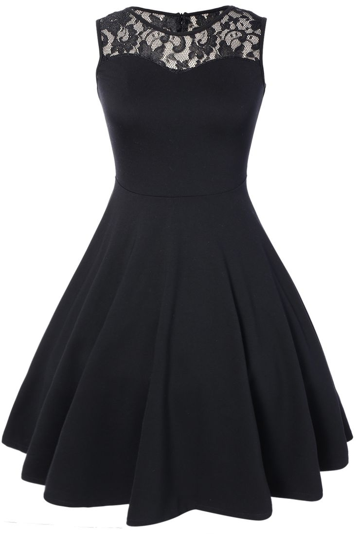 Sleeveless Lace A Line Party Swing Skater Dress - Black - Xl 15