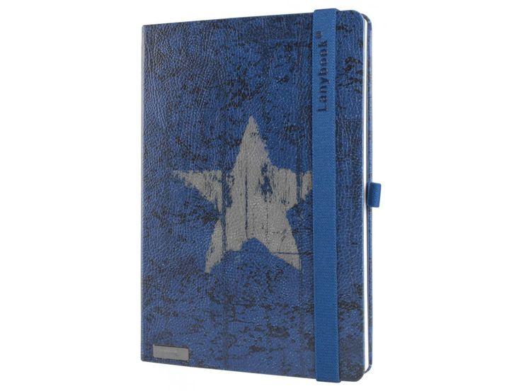 Originální zápisník Lanybook s motivem hvězdy na modrém podkladu.