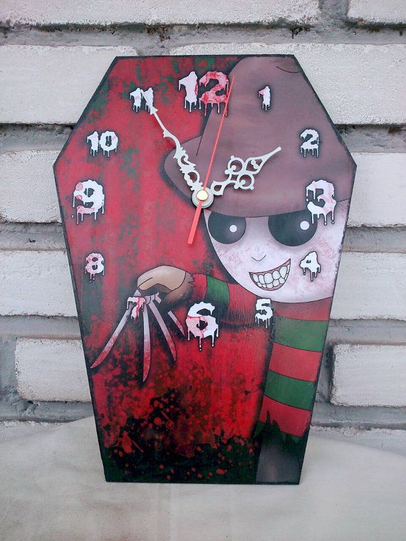 Wooden wall coffin-clock -  Freddy Krueger - A Nightmare on Elm Street horror movie. Handmade wall clock