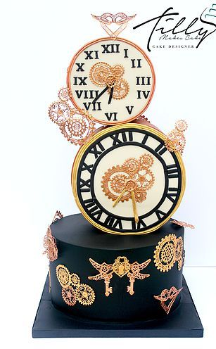 clocks steam punk birthday cake, stacked 3d black and gold, edible lace detailing tilly makes cake glasgow birthday cake