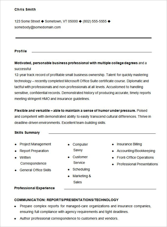 format of functional resumes