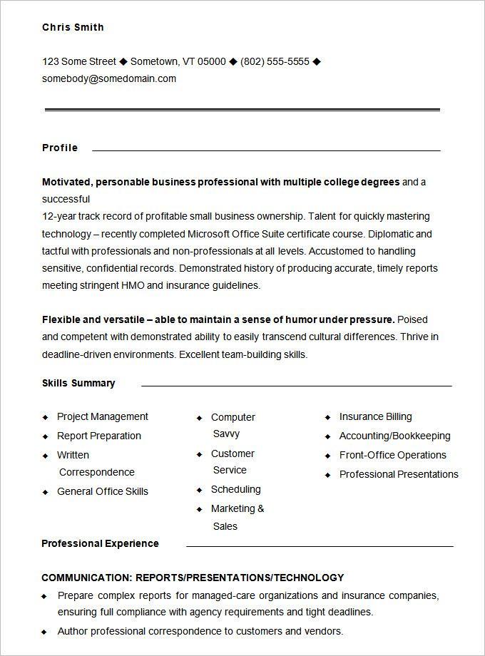 printable resume templates pdf