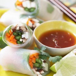 Mushroom & Asparagus Vietnamese rice paper rolls with ginger dressing