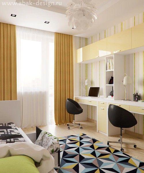 Готовые дизайн-проекты квартир в домах серии П-44Т - Двушка распашонка 67 м2 - Комната 14,1 м2