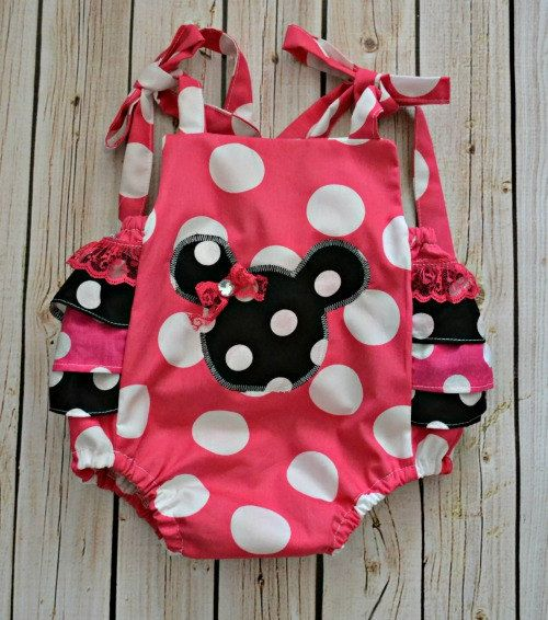 Minnie Mouse Ruffle Romper - Baby Ruffle Romper - Ruffle Sun Suit - Baby Clothing - 1st birthday