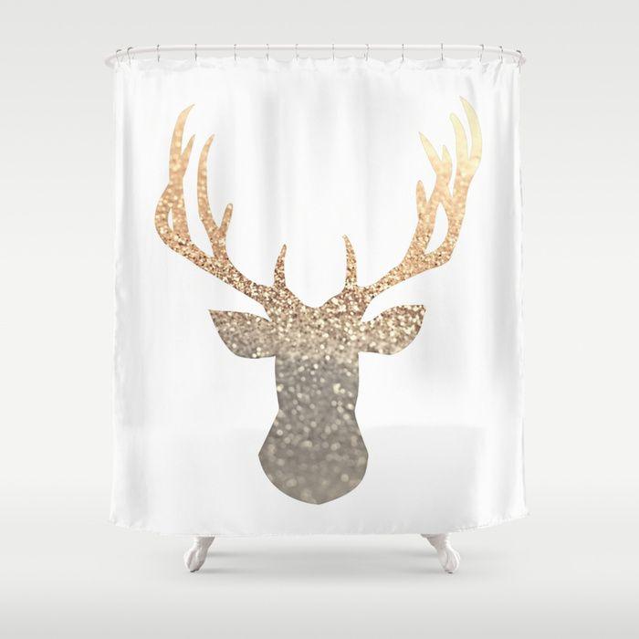 GOLD DEER Shower Curtain by Monika Strigel