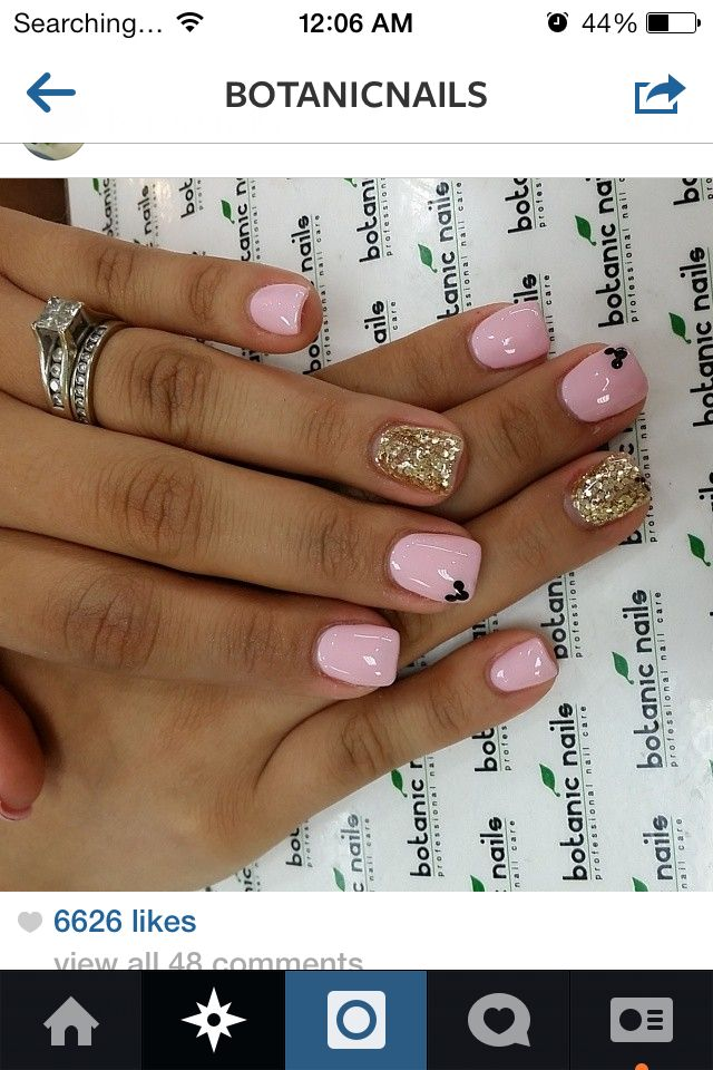 Pink gold Mickey nails