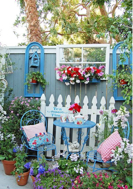 Great inspiration for diy makes and a spring garden makeover ready for summer , shabby chic Happy Summer Garden Tour