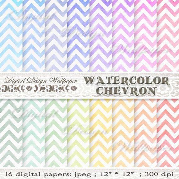 Watercolor Chevron Digital PaperWATERCOLOR by DigitalDesignPaper
