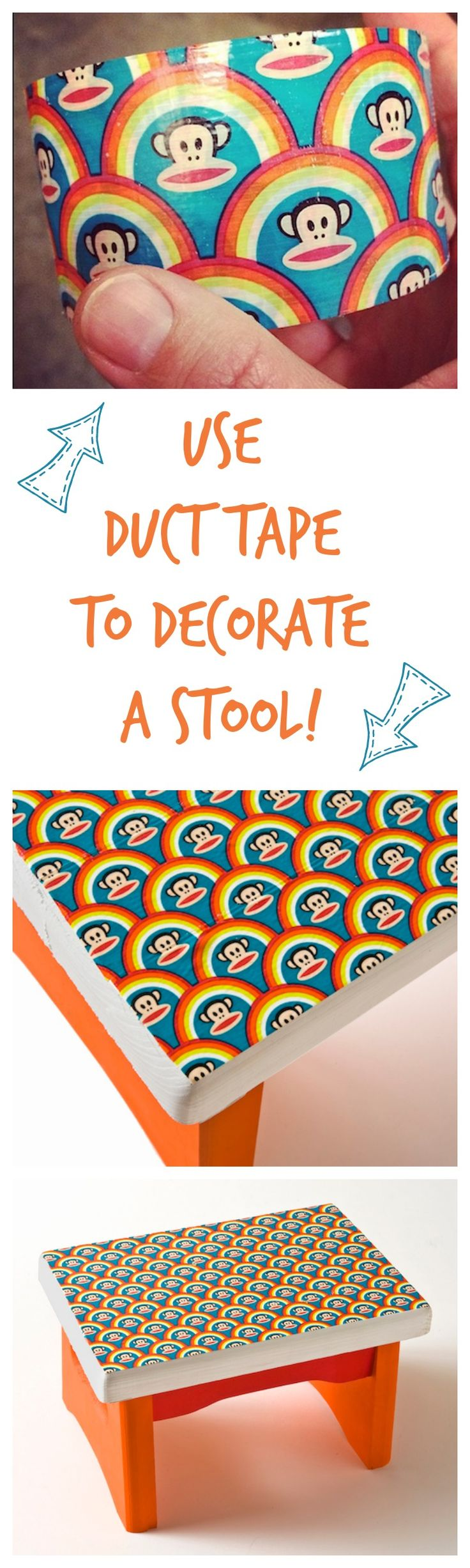 Use duct tape to decorate a stool - it's really easy! Except definitely not this monkey!!