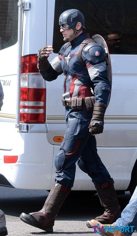 More set pics and video of Captain America in Avengers: Age of Ultron. Guys.......he has the A symbol on his shoulder....... :D