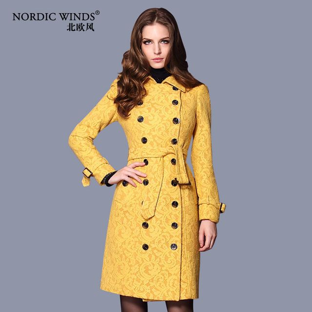 Ciemny niebieski/żółty jesień zima nowy 2014 pokój łuszcz płaszcz płaszcze damskie płaszcz z wełny długie b1951 groch płaszcze kobiety uwalnia statek