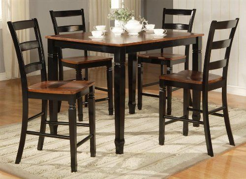 Brentwood Counter Height Table With 4 Chair Set In Black By Standard Furniture