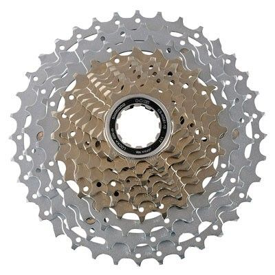 Presenting the Shimano HG81 10 speed cassette with refined tooth profile for HG-X chain and Shadow RD, 3 rings on spider with 11-32T, 11-34T, 11-36T available gearings. It weighs 345 grams, making it very light to install to your bike.