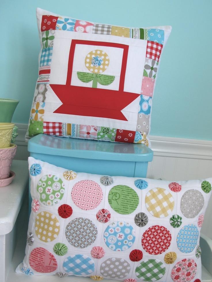 Polka Dot Posies- would make a great Christmas pillow for my living room