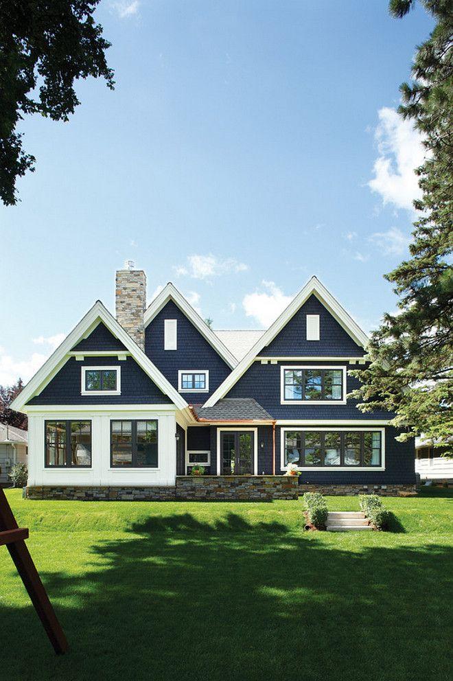 Navy home exterior with white trim. Navy home exterior with white trim. Navy home exterior with white trim #Navyexterior #homeexterior #whitetrim Kurt Baum & Associates