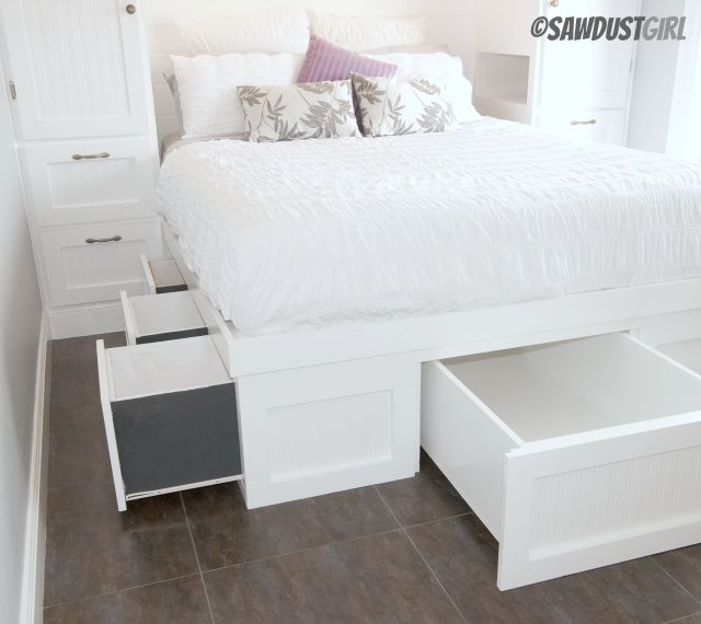 Built-in Wardrobes and Platform Storage Bed. OMG OMG OMG! And it includes free building plans!