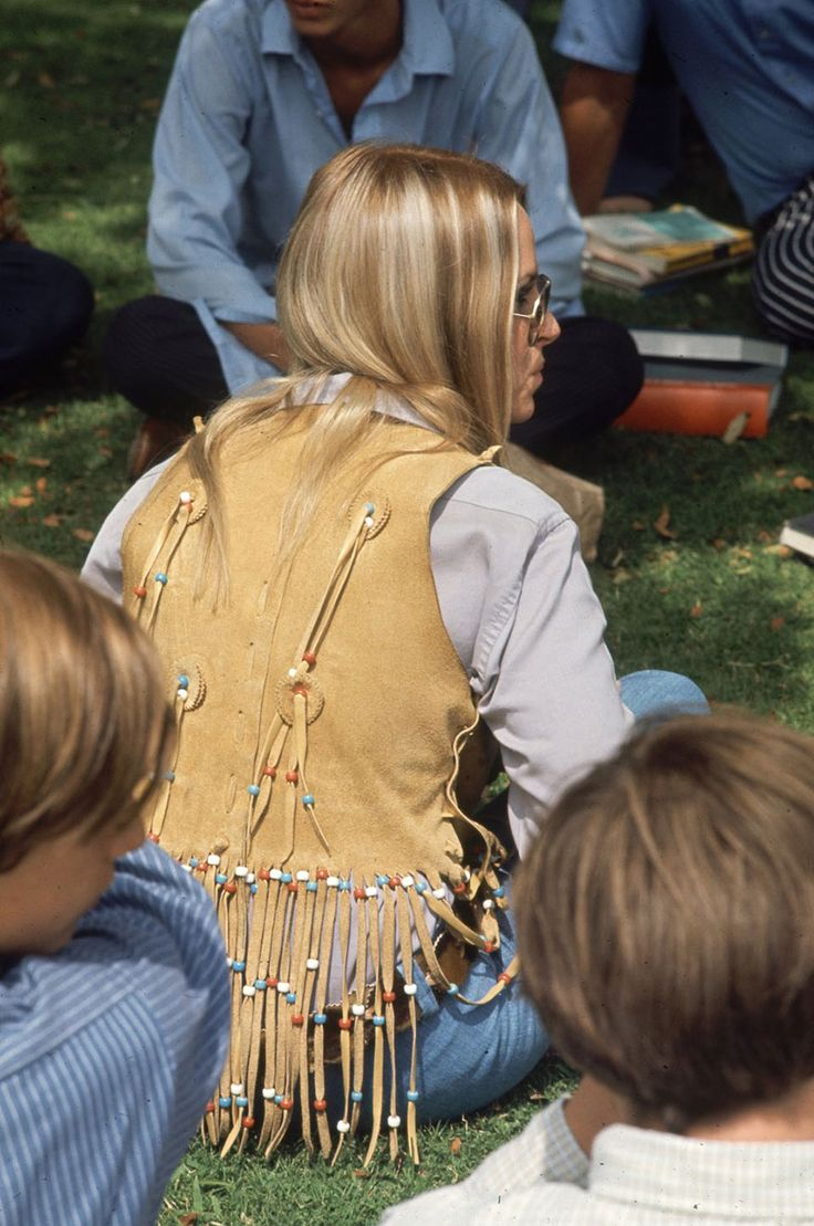 """Southern California high schooler wears a buckskin vest and other hippie fashions, 1969."""