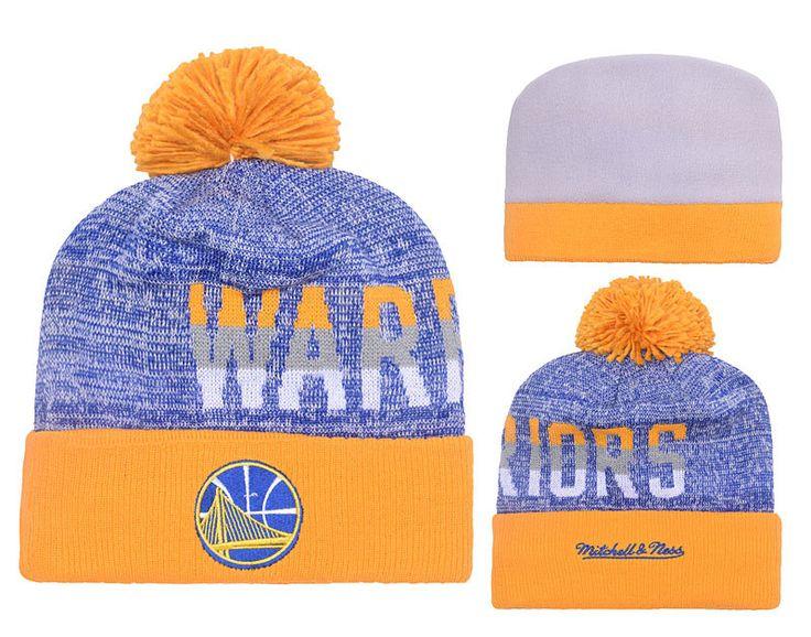 Men's / Women's Golden State Warriors New Era NBA Throwback Sports Knit Pom Pom Beanie Hat - Royalblue / Gold