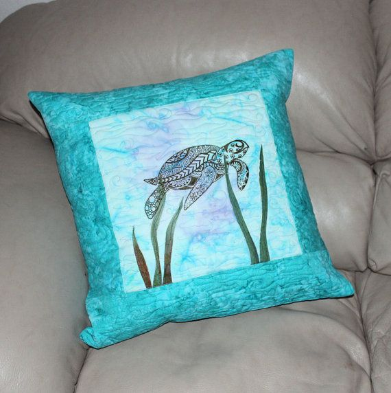 20 Inch Sea Turtle Quilted Throw Pillow, Machine Embroidered Sea Turtle, Cotton Batik Fabric ...