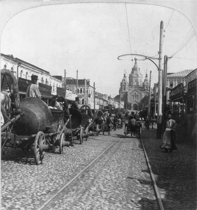 Сибирская пристань и Собор Александра Невского, 1902 год.