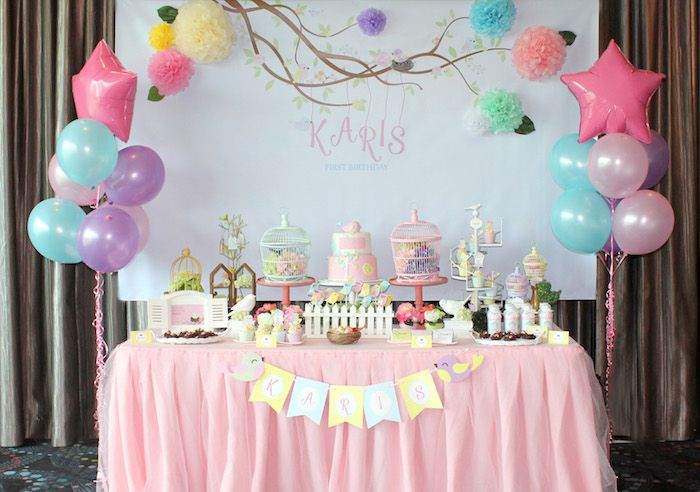 Pastel Bird Birthday Dessert Table via Kara's Party Ideas   KarasPartyIdeas.com