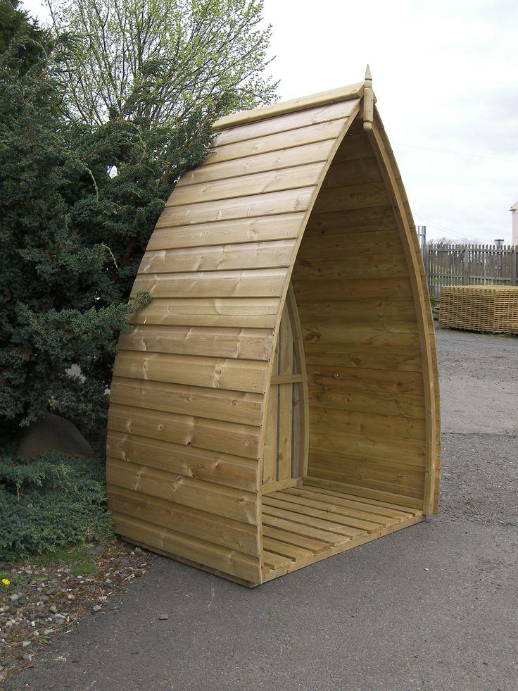 Log store that looks like an upturned boat! £275.00 plus carriage www.hendersonfencing.co.uk