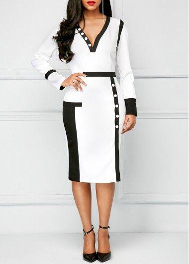 Long Sleeve Patchwork Color Block Dress on sale only US$31.11 now, buy cheap Long Sleeve Patchwork Color Block Dress at liligal.com