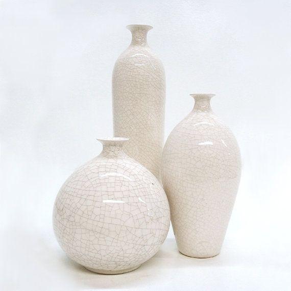 Ceramic White Vessels, Trio, Set of 3 fine modern minimal bottles Handmade vase Home decor housewares, Mid century, stoneware WHITE