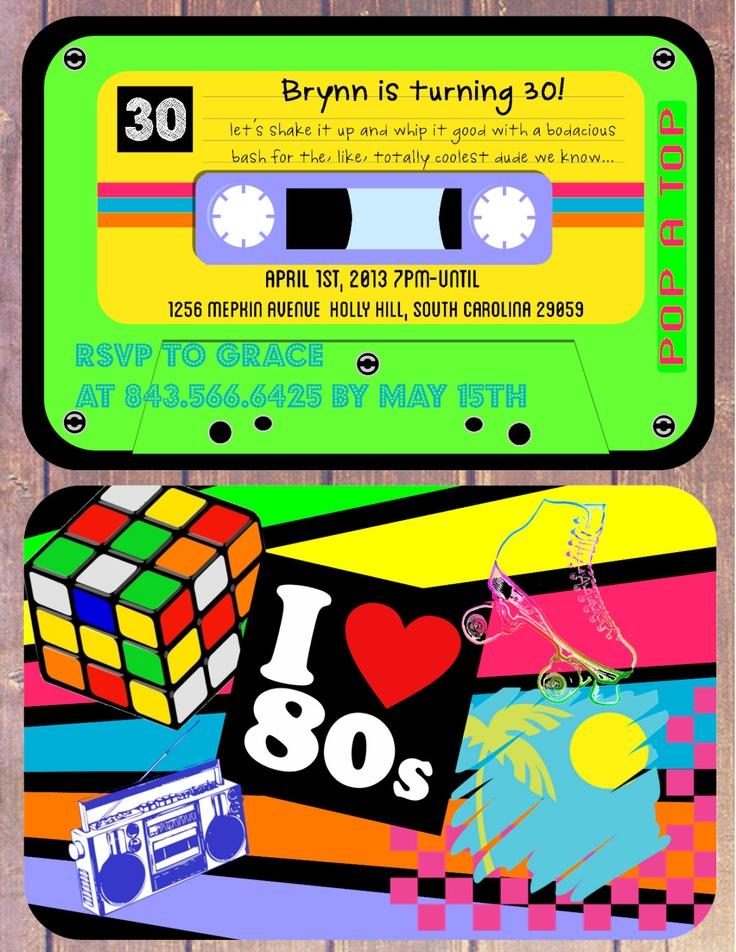 I love the 80's Theme Birthday Invitation - Cassette Tape invite. $15.00, via Etsy.