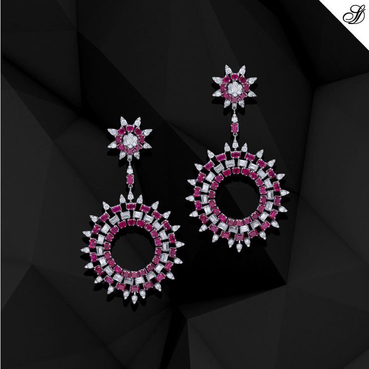 Keep you earring style simple with internally flawless diamonds & a splash of coloured precious gemstones sunnydiamonds.com