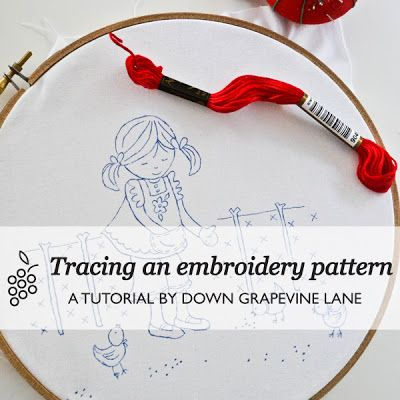 Tracing an embroidery pattern - Tutorials ~ by Down Grapevine Lane