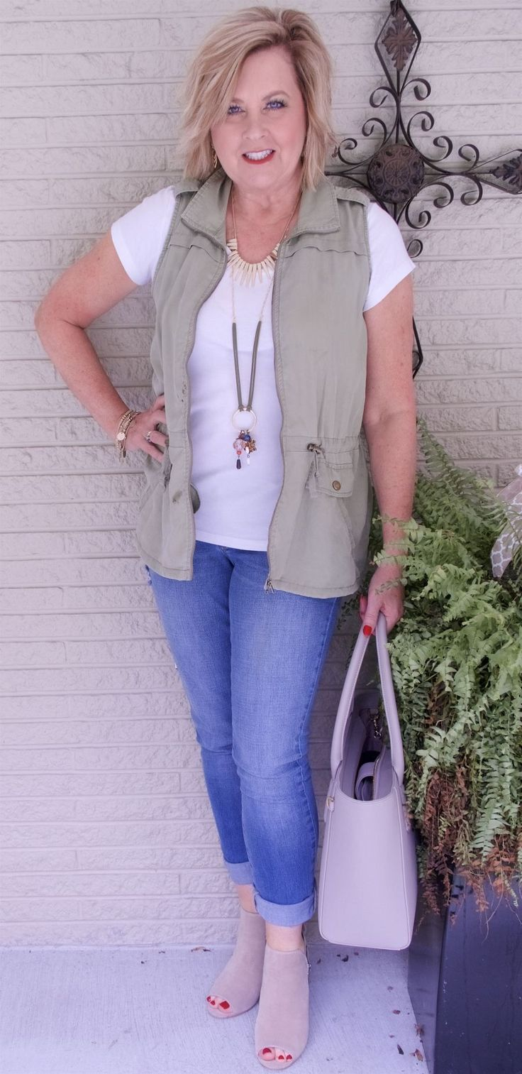 50 IS NOT OLD   UTILITY VEST AND JEANS   Cargo Vest   Fashion over 40 for the everyday woman #women'sfashionforover40