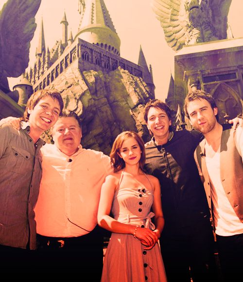 James Phelps, Robbie Coltrane, Emma Watson, Oliver Phelps, and Matthew Lewis. Wizarding The Wizarding World of Harry Potter, Universal Orlando Resort in Orlando, Florida.