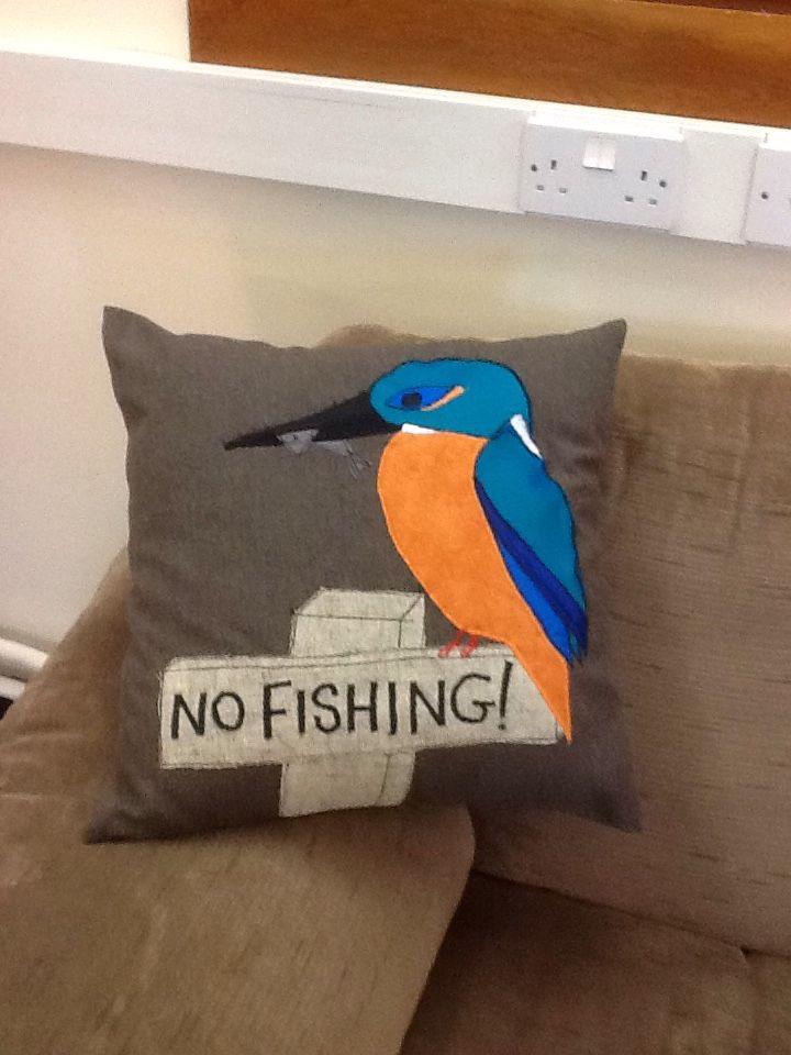 Cushion kingfisher sewing handmade