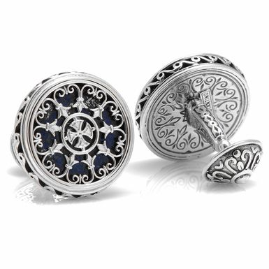Konstantino Sterling Round Scroll with Lapis Stone Cufflinks ...repinned vom GentlemanClub viele tolle Pins rund um das Thema Menswear- schauen Sie auch mal im Blog vorbei www.thegentemanclub.de