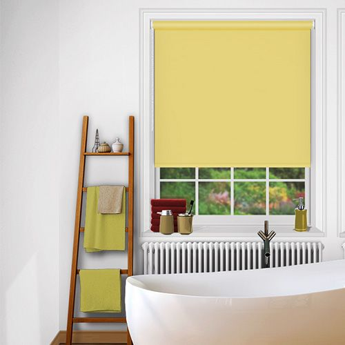 A vibrant and cheery yellow blackout blind that is waterproof and flame retardant